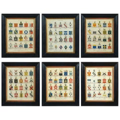 Hand Colored Heraldic Engravings Depicting the Arms of Esquires and Gentlemen
