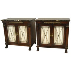 Pair of New St Laurent Empire Style Marble-Top Double Door Cabinets by Henredon