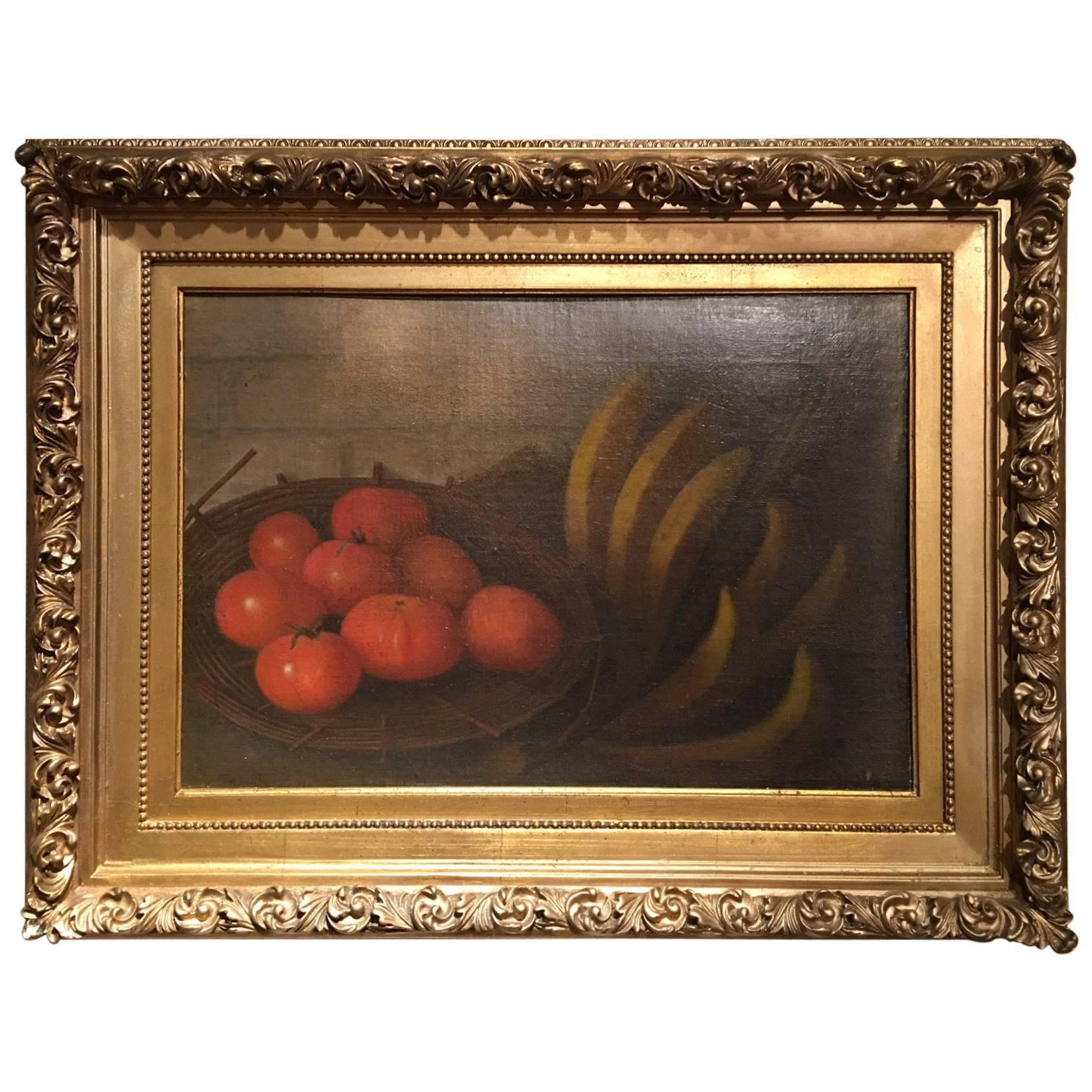Framed Oil on Canvas, Still Life with Tomatoes, Signed W.G.S. Boursse