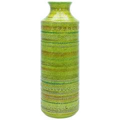 Large Green Italian Ceramic Vase in the Style of Raymor, circa 1960