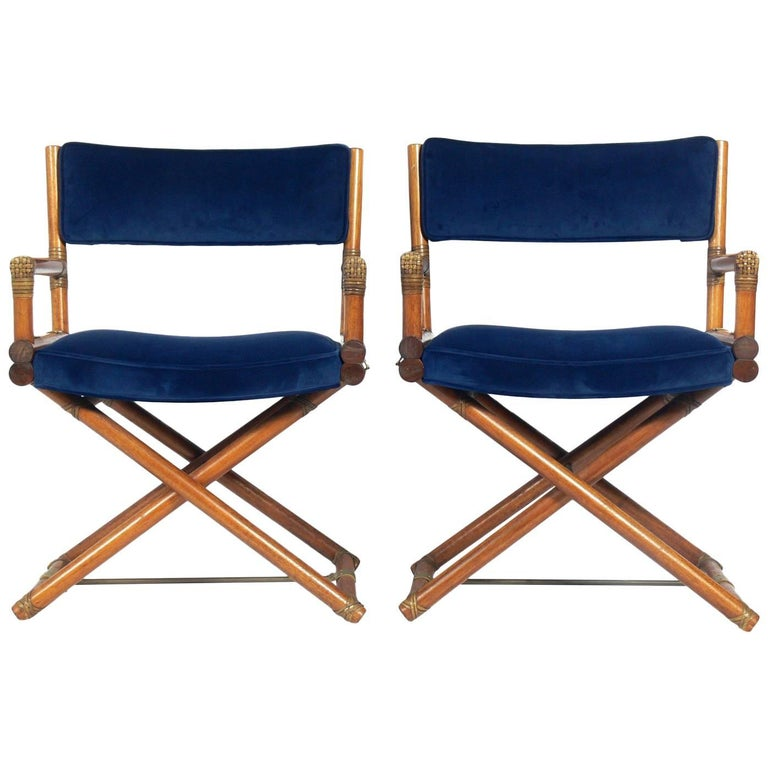 Pair of McGuire Campaign Style 'X' Base Lounge Chairs