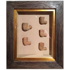 Set of Five Terracotta Pipes Framed in a Shadow Box, 19th Century