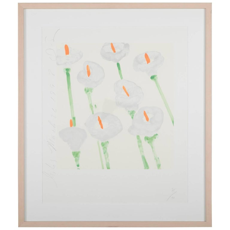 """Lilies"" Signed and Dated Serigraph by Donald Sultan For Sale"
