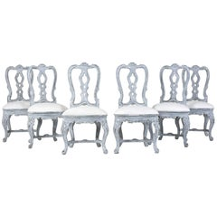 Set of Six Italian Painted Dining Chairs