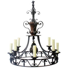 19th Century French Spanish Colonial-Style Wrought Iron Chandelier