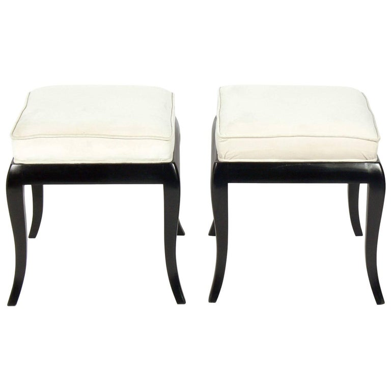 Pair of Black Lacquered Stools Attributed to Tommi Parzinger