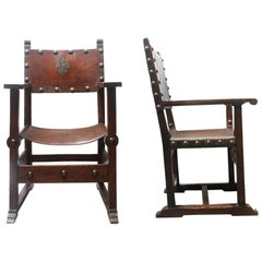 Pair of Mid-19th Century French Baroque Leather and Wood Armchairs
