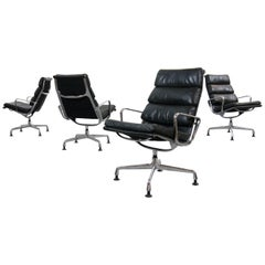 Charles Eames Soft Pad Chairs EA 216 Herman Miller / Fehlbaum in Black Leather
