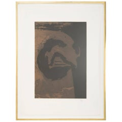 """Primal Sign V Copper""  Aquatint and Etching by Robert Motherwell"