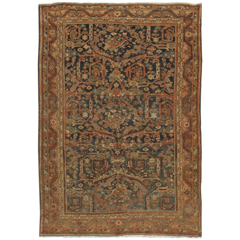 Vintage Distressed Persian Mahal Rug For Sale At 1stdibs