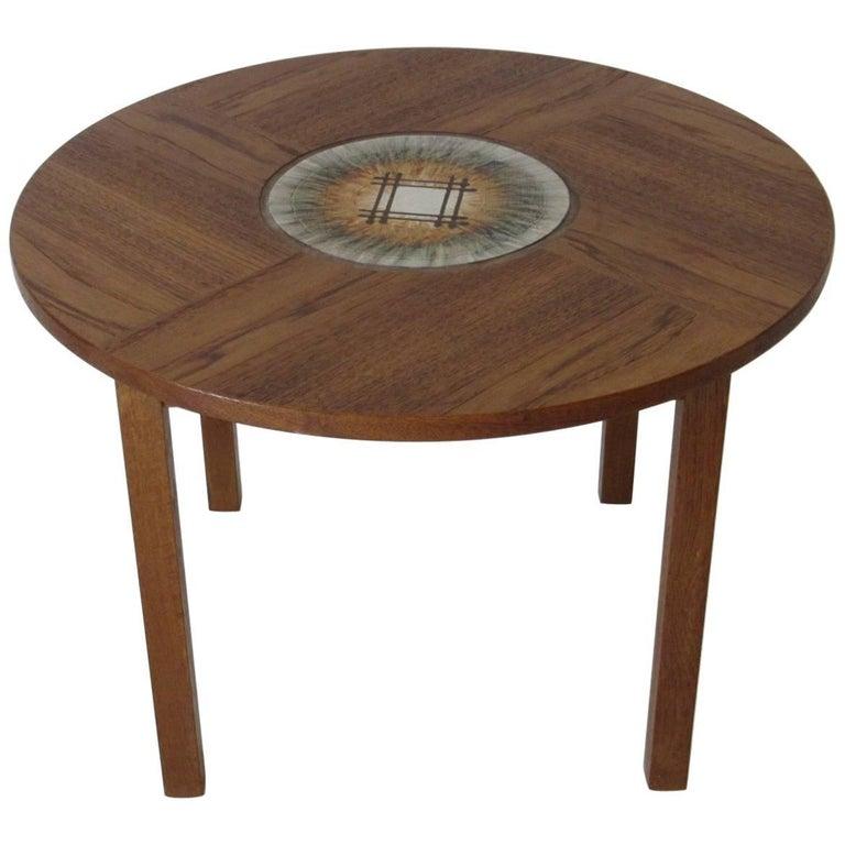 Tue Poulsen Tile Topped Danish Teak Side / End Table For Sale
