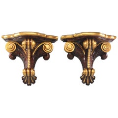 Pair of Mahogany Wall Shelves with Gilded Accents by Maitland-Smith