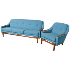 Scandinavian Teak Sofa and Lounge Chair in Blue Wool