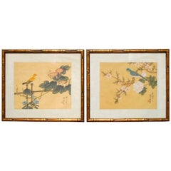 Pair of Chinoiserie Style Faux Bamboo Bird Paintings on Silk