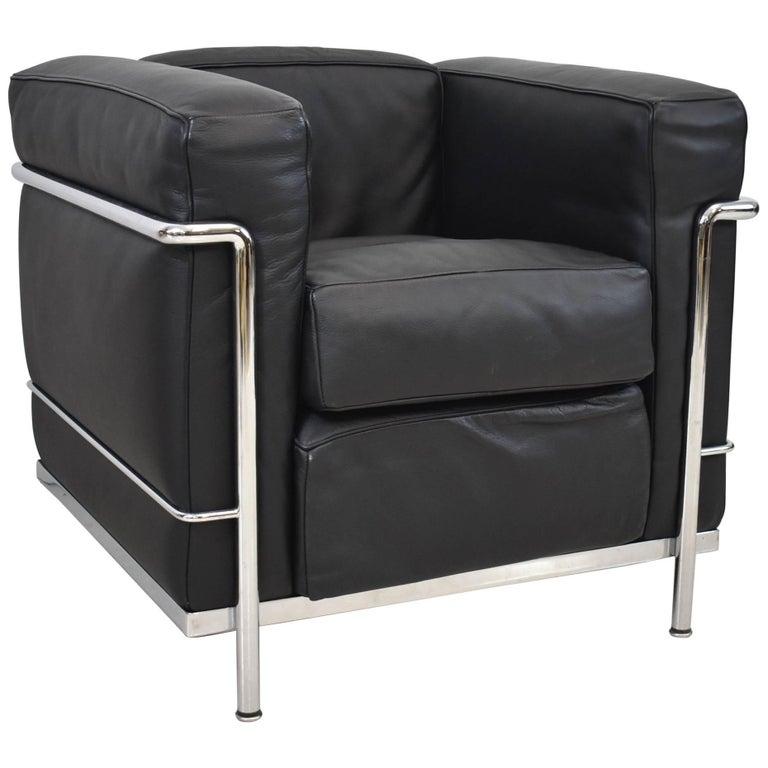 LC2 Cassina LeCorbusier Black Leather Chrome Armchair
