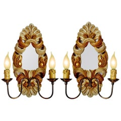 Antique Pair of Italian Baroque Giltwood Girandole Mirror Double Light Sconces