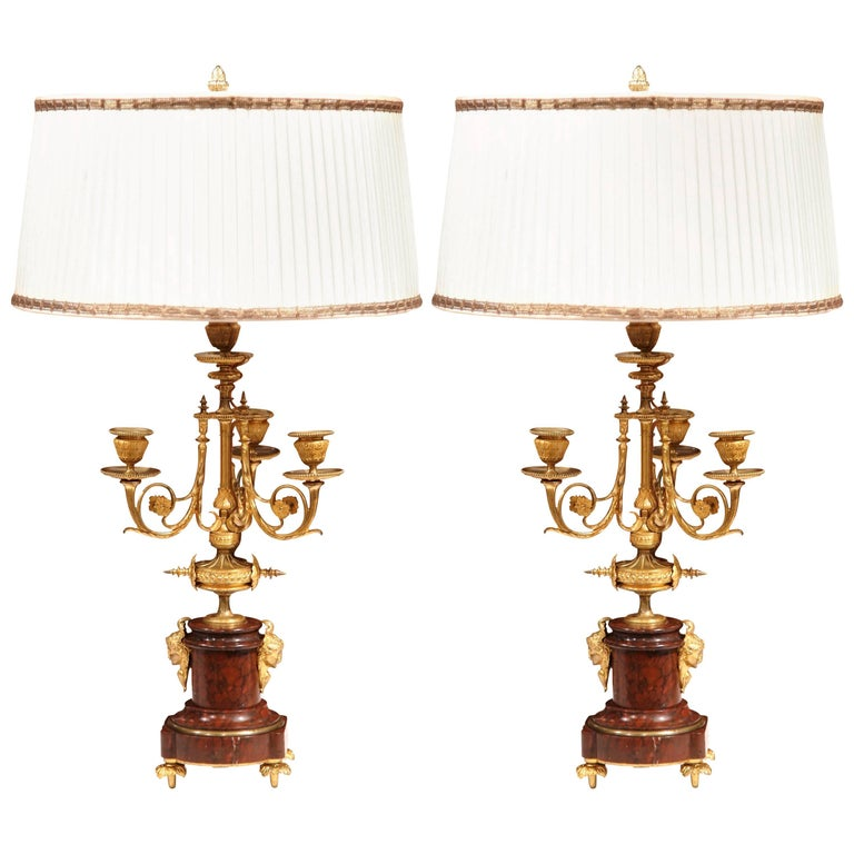 Pair of 19th Century French Bronze and Marble Three-Light Candelabra Lamps
