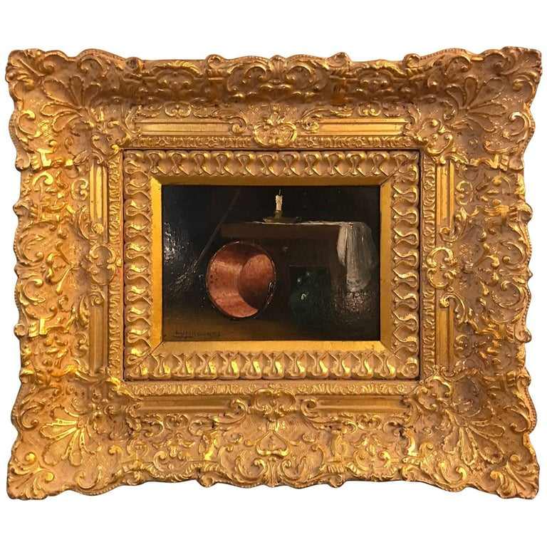 Oil Painting with Elaborate Gilt Frame, Artist Signed Lumboekas
