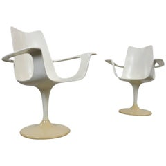 "Set of Two White Luigi Colani Swivel Armchairs ""Der Lusch"" Tulip Chairs, 1970s"