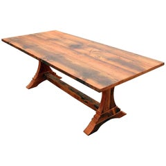 Customizable Trestle Leg Pine Farm Table and Single Bench