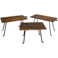 Three Antique Wooden Tray Side Tables