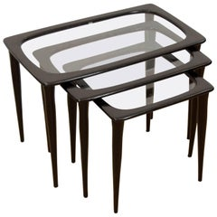 Set of Three Ebonized Italian Nesting Tables