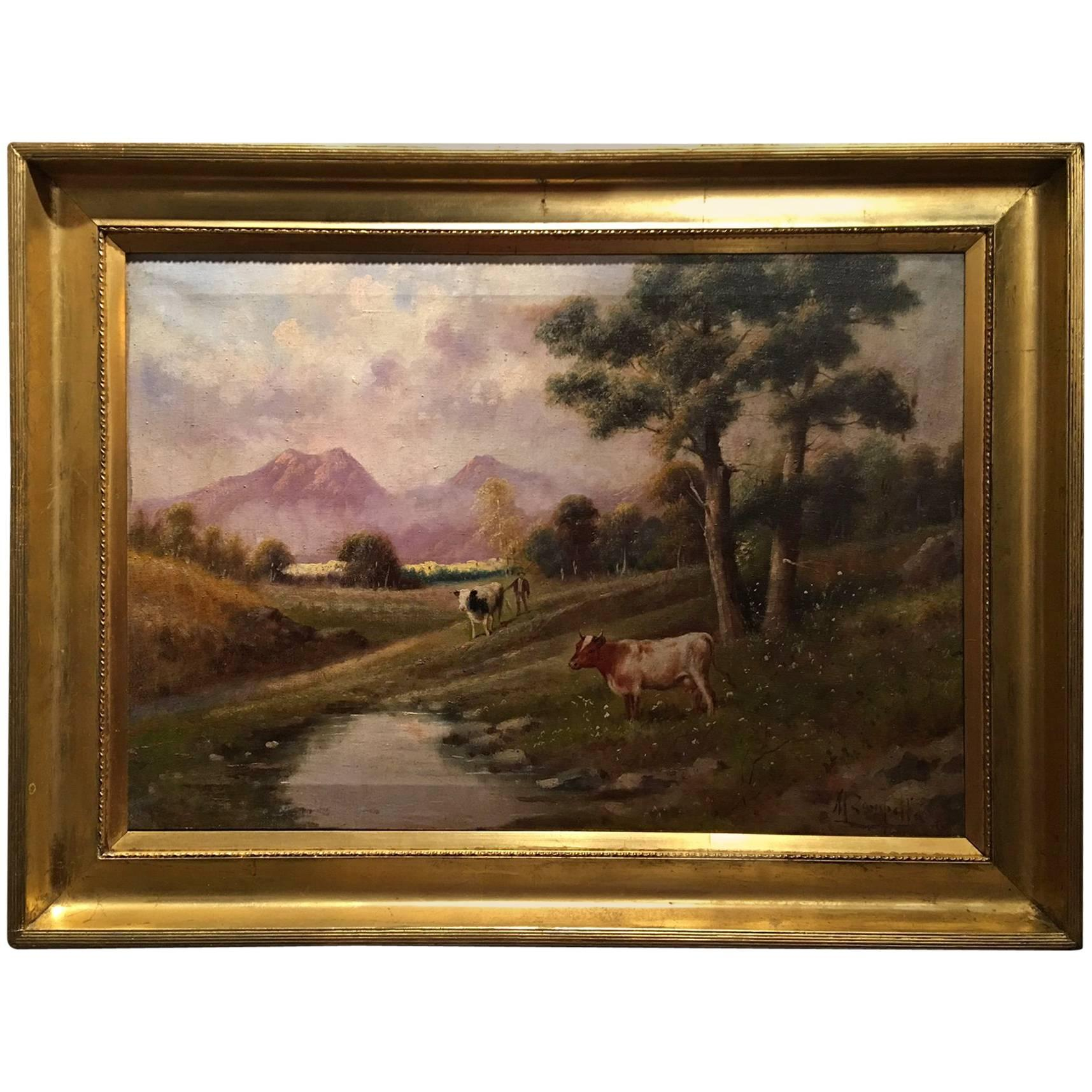 """Italian Oil on Canvas by M Zampella, """"Cows by Stream"""", Early 20th Century"""