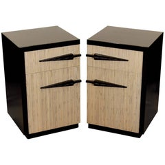Pair of Black Lacquer and Bamboo/Reed Style Midcentury Nightstands
