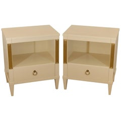 Pair of Cream Lacquered and Gilt John Stuart Nightstands