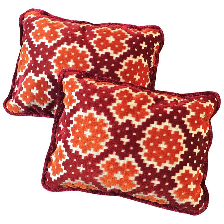 Custom Pair of Small Throw or Accent Pillows in Colorful Geometric Pattern For Sale