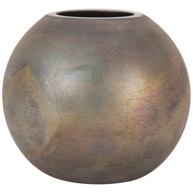 Cenedese Murano Glass Spherical Vase With Iridescent Scavo Finish