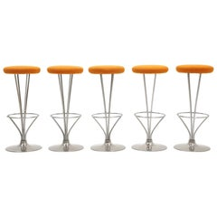 Five Barstools Designed by Piet Hein for Fritz Hansen, Beautifully Restored