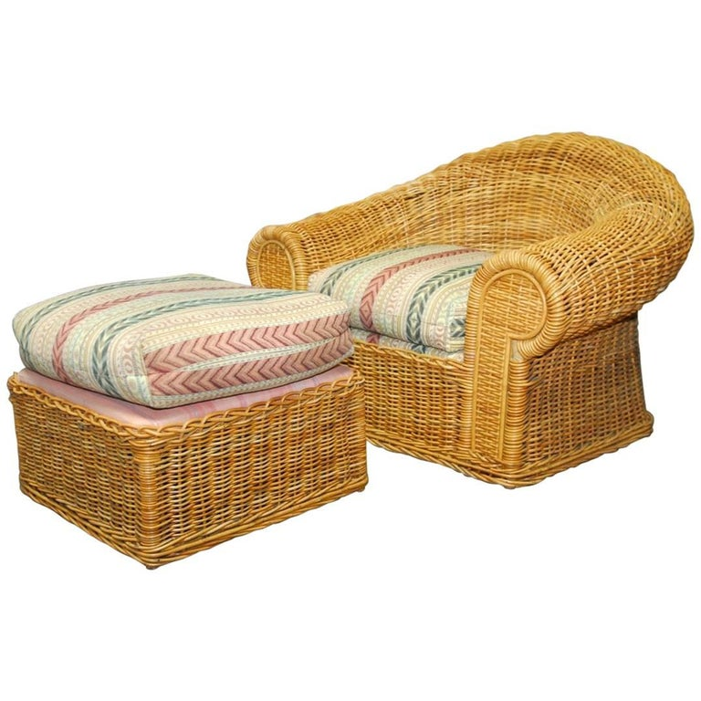 Michael Taylor Inspired Wicker Lounge Chair and Ottoman