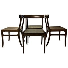1960s Ole Wanscher Rungstedlund Chairs in Mahogany and Brown Horsehair Covers
