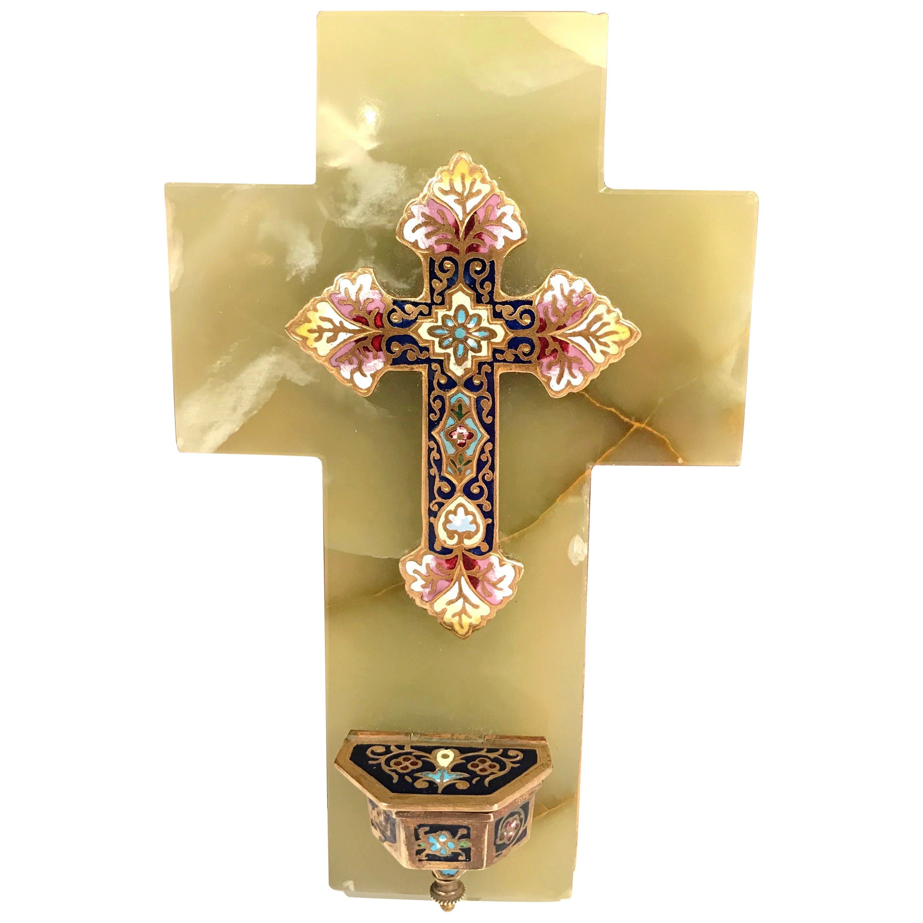 19th Century French Brass and Cloisonne Cross with Holy Water font ...
