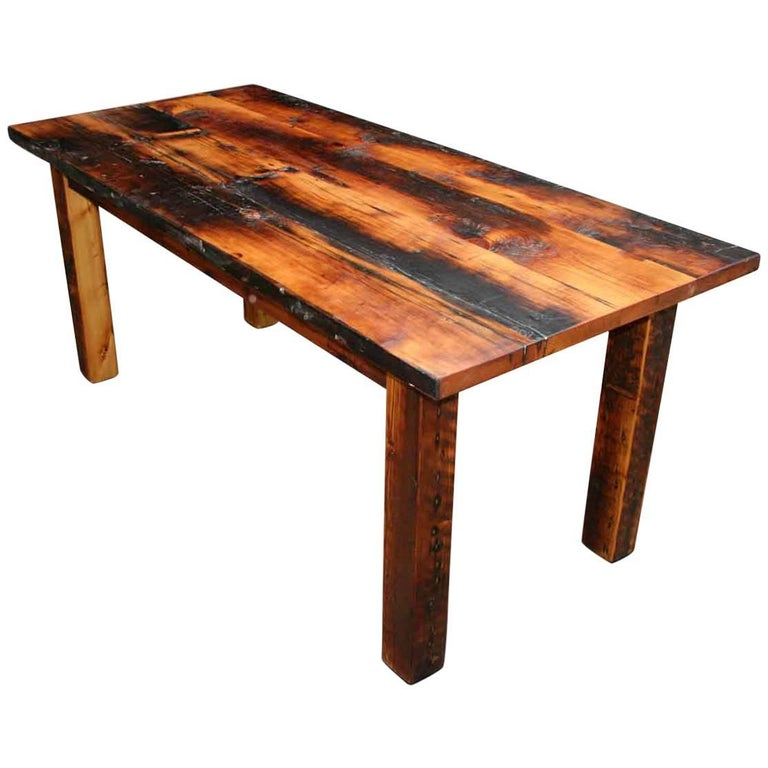 Customizable Rustic Square Leg Pine Farm Table