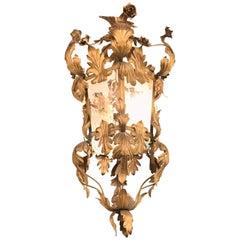 Hollywood Regency Gilt Metal Etched Glass Hanging Lantern