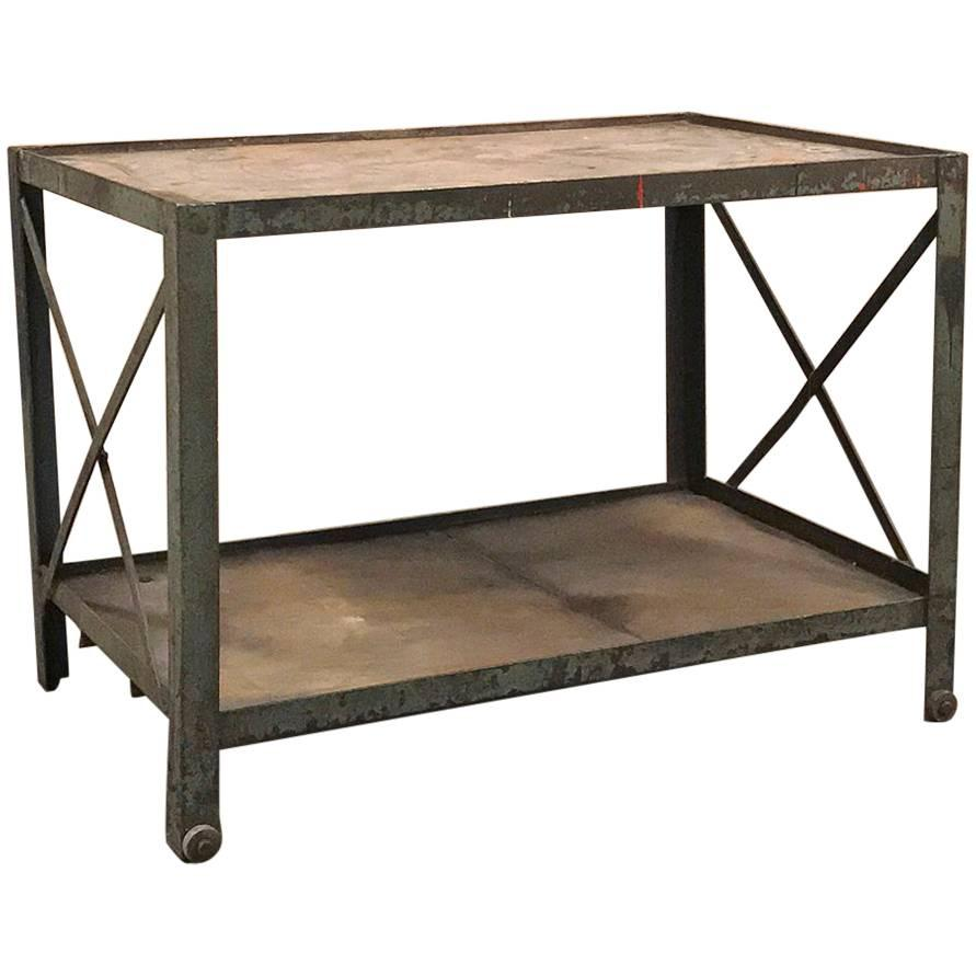 Antique Industrial Mid- Century Modern Iron Cart, Table with wheels