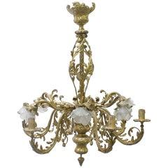 19th Century French Louis XVI-Style Bronze Chandelier