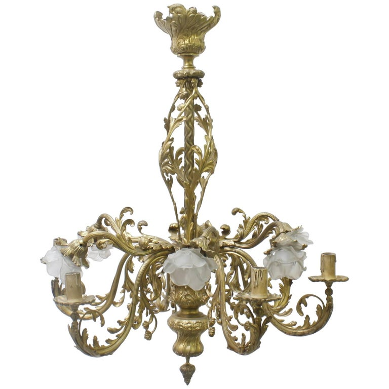 19th Century French Louis Xvi Style Bronze Chandelier For