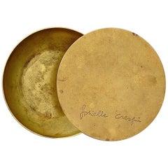 "Signed Rare Gabriella Crespi ""Antivento"" Ashtray Patinated Brass Bowl, 1970"