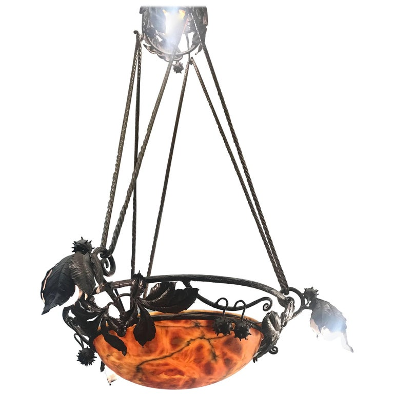 Wrought Iron & Alabaster Arts and Crafts Chestnut & Leaves Pendant Light