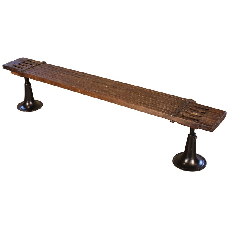 Bench Wood And Cast Iron Adjustable Seat Vintage Industrial For Sale At 1stdibs