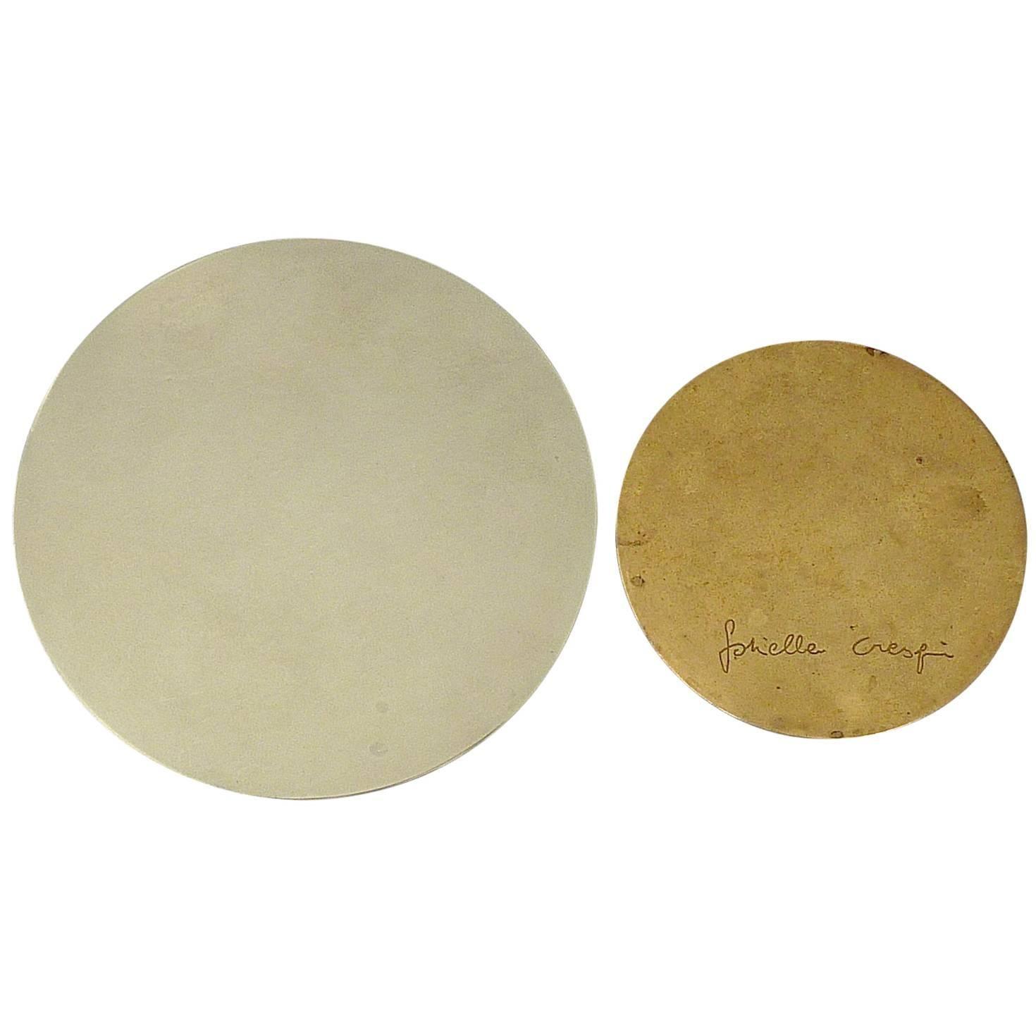 """Signed Rare Gabriella Crespi """"Antivento"""" Ashtray Chrome Brass Bowl, Italy, 1970"""