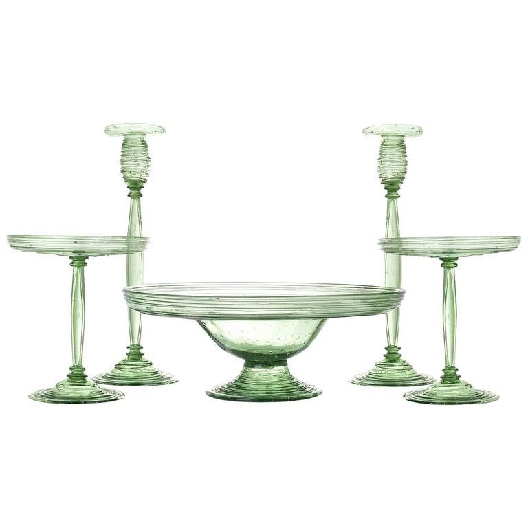Steuben Pomona green garniture set, 1920s, offered by  Lawrence Jeffrey Estate Jewelers