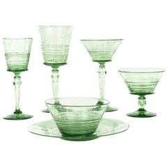 Steuben Pomona Green 72-Piece Set of Stemware c1920s