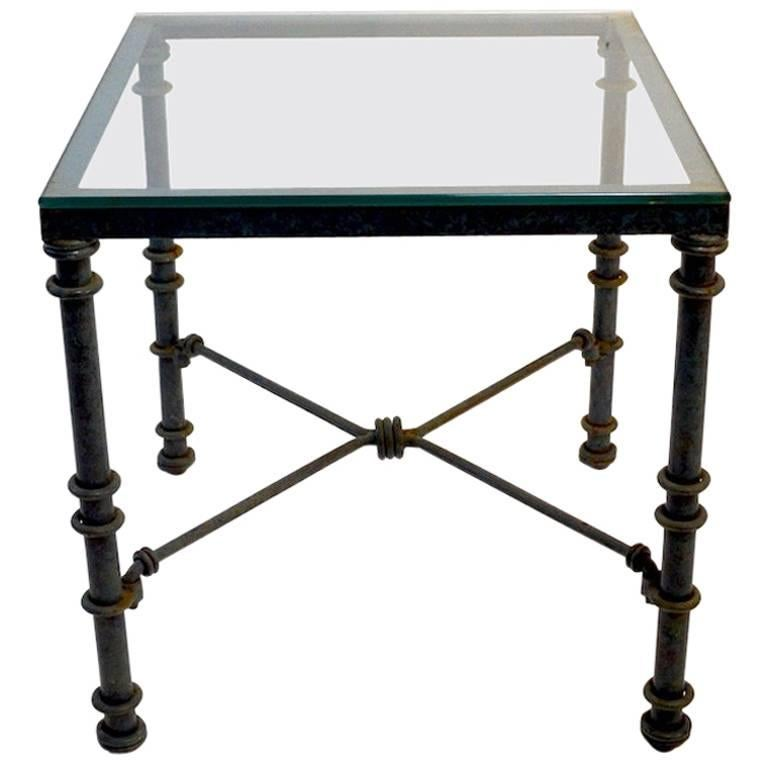 Faux Verdigris and Glass End, Side Table