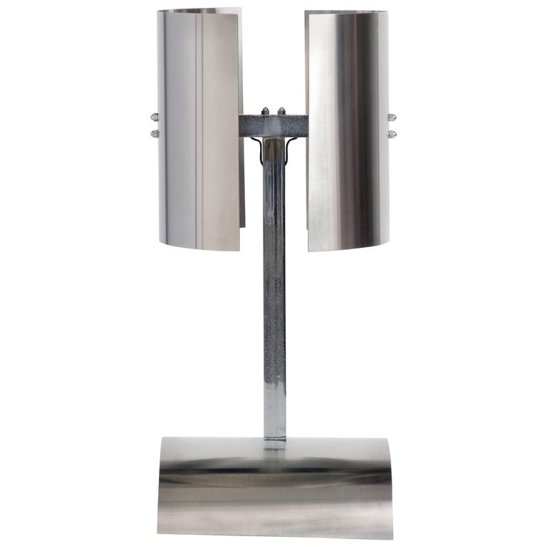 1970s, French Stainless Steel Modernist Table Lamp