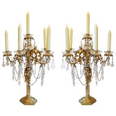 Pair of Antique French Gilt Bronze Six-Arm Crystal Candelabra