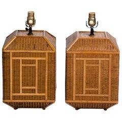 Pair of Vintage Rattan Lamps